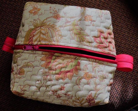Hand Crafted Quilted Box Cosmetic Bag/Ladies Dopp Box