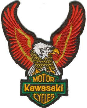 Tygmärke Motor Kawasaki Cycles Storleken är 12x9cm Artikelnummer:10503