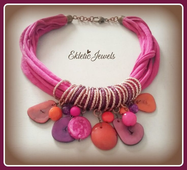 Pink and orange - tagua beads, resin and wood