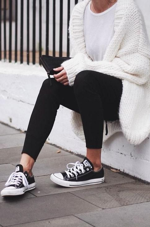 black + white. oversized cardigan. converse.