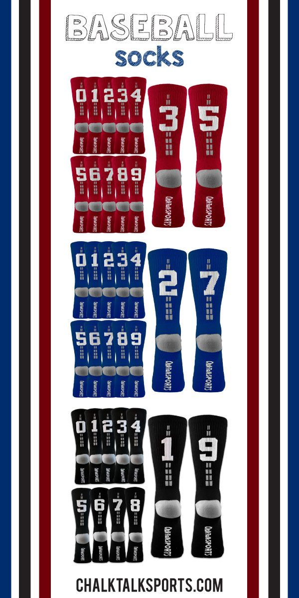 Customize these baseball socks with your player number and wear them to practices all summer long!  These socks would make a great gift for any baseball player to enjoy!  Only from ChalkTalkSPORTS.com!