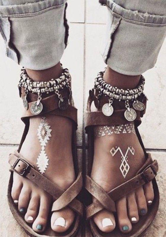 Brown Round Toe Flat Cross Strap Metal Buckle Toe Separator Summer Romans …   – Klamotten und Schuhe