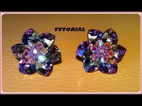 TUTORIAL DIY | Come fare un fiore con cuori swarovski e creare un paio di orecchini dummies - YouTube
