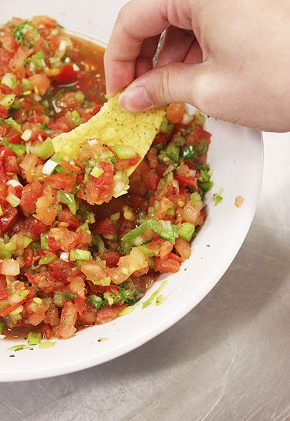today at camp, we made..   (i have a feeling there will be more posts that begin this way)     fresh salsa! with just-picked cilantro f...