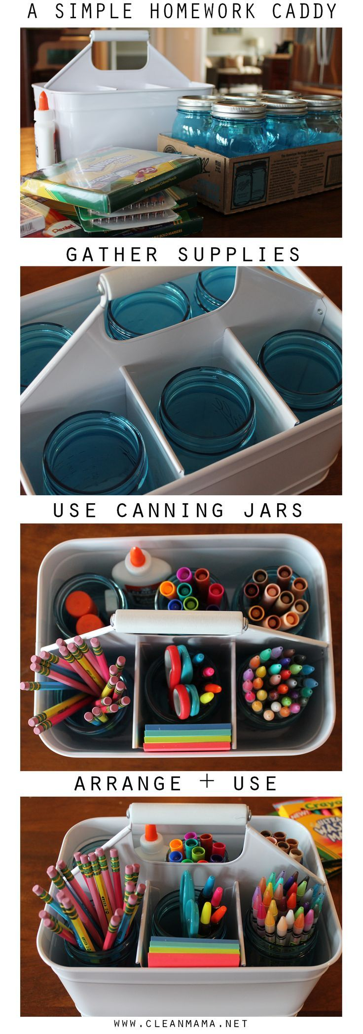 Put together a simple homework caddy to contain all those school supplies and odds and ends. Perfectly functional!