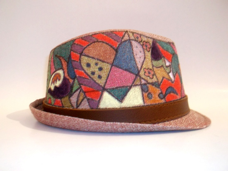 """Modern Hand Painted Woman Hat - Pop Art A beautiful hand painted hat, with the theme """"Pop Art"""". The hat is painted with non-toxic acrilic paint and have a modern designs. Hats Material: Canvas Hats are available in different colors and patterns. Buy these or have your own customized!"""