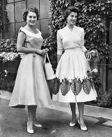 Ted Tinling strawberry dress, 1956. - I remember strawberry dresses, and my favourite as a girl was decorated with cherries.