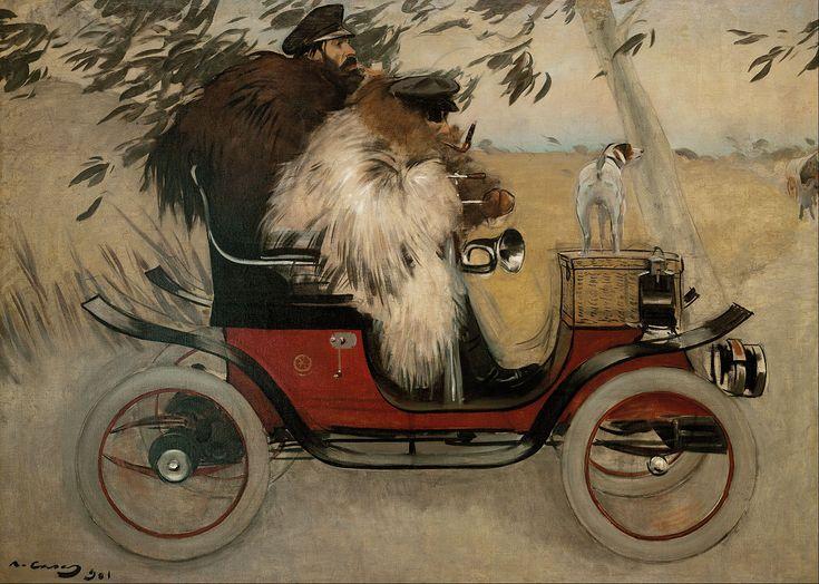 Ramon Casas i Carbó (Catalan Spanish 1866–1932) Ramon Casas and Pere Romeu in an Automobile, 1901. Oil on canvas, 81.89 x 114.57 in (208 x 291 cm). Museu Nacional d'Art de Catalunya, Barcelona.
