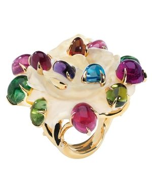 Dior Joaillerie / Victoire de Castellane's Mother-of-pearl rose ring with 'dew drops' of diamonds, aquamarines, amethysts, citrine and pink and green tourmalines