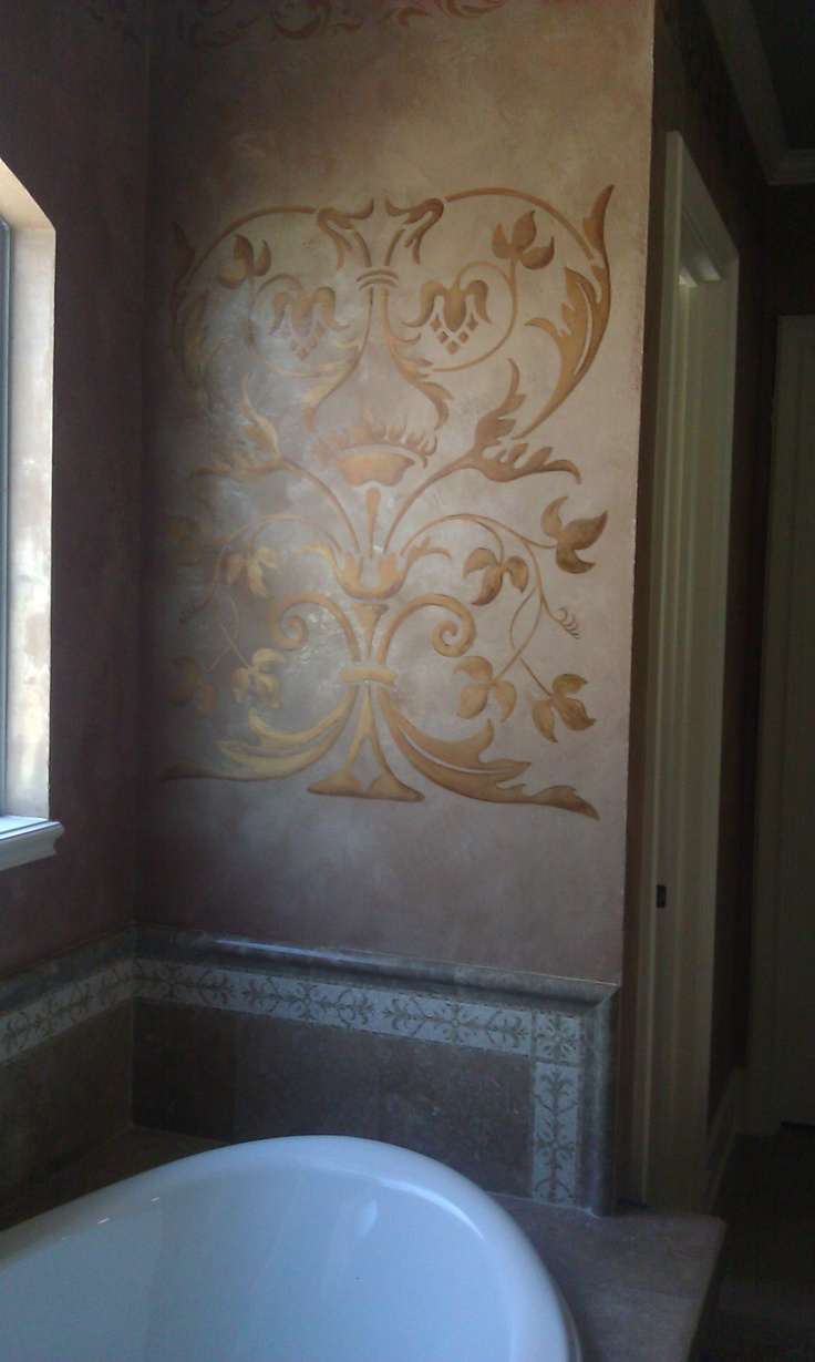 151 best stenciling images on pinterest stenciling tutorials old world tuscan bathroom idea paint a large stencil on the wall modello on lusterstone amipublicfo Images