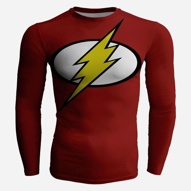 Superhero DC Flash Long Sleeves 3D Compression T-shirt   #Superhero #dc #Flash #LongSleeves #3D #Compression #T-shirt