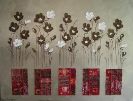 Naomi Crowther  www.naomicrowther.com  Bollywood Poppies on Pewter