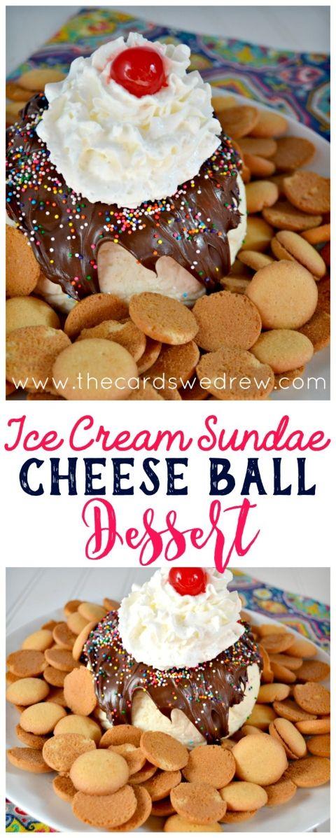 Ice Cream Sundae Cheese Ball Dessert from The Cards We Drew #HelloHappy #IC #ad