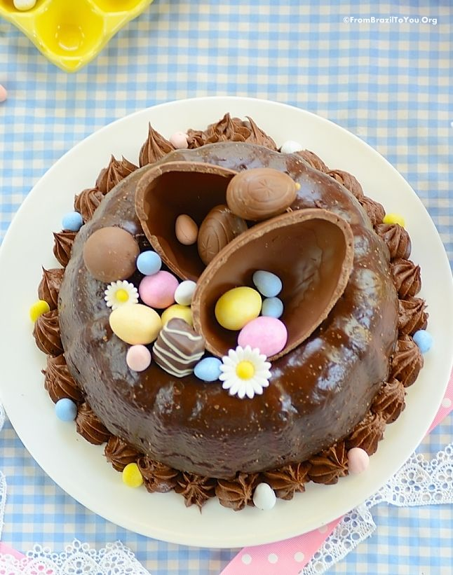 A very decadent and moist Easter Chocolate Cake - and love the decorations!