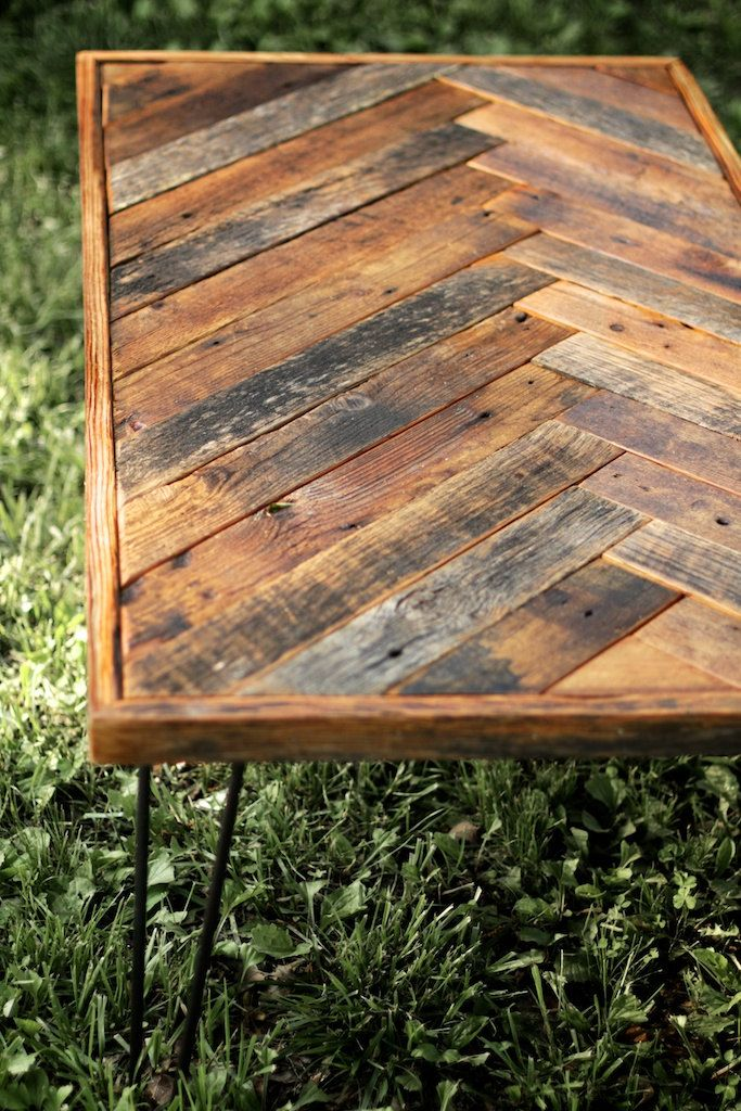 Herringbone Coffee Table with Hairpin Legs  by GrindstoneDesign