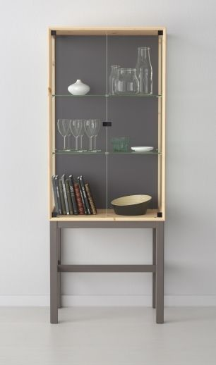 Ikea Kitchen Island With Drawers ~ NORNÄS Glass door cabinet with 2 doors, pine, gray  Glass Cabinets