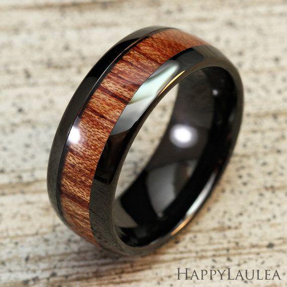 Black Tungsten Carbide Ring with Koa wood Inlay (8mm width, black IP,  barrel style)