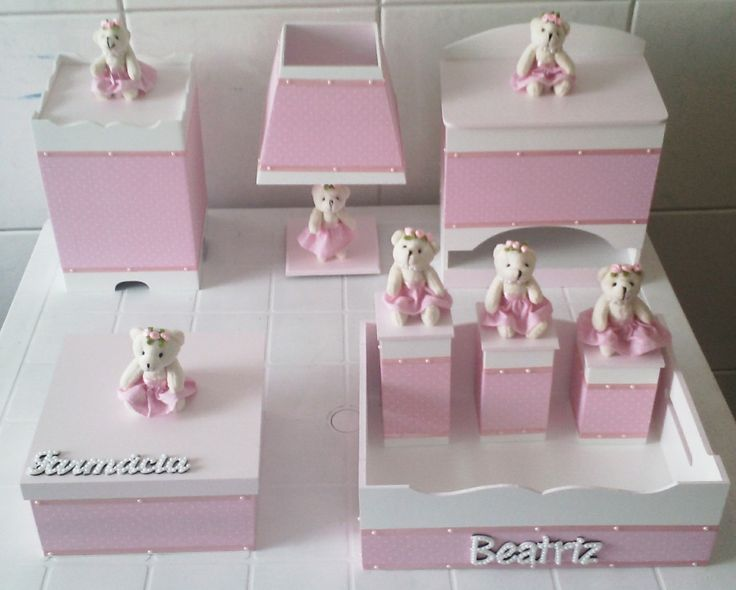 kit higiene bebê mdf 8 peças ursinha poá rosa