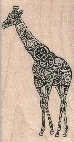 Rubber stamp steampunk giraffe  running wood Mounted  scrapbooking supplies number 15980