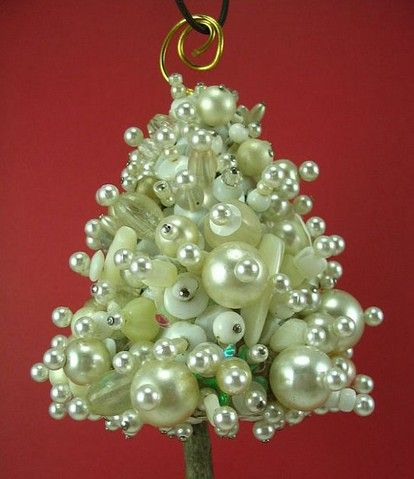 Homemade Christmas craft from beads.