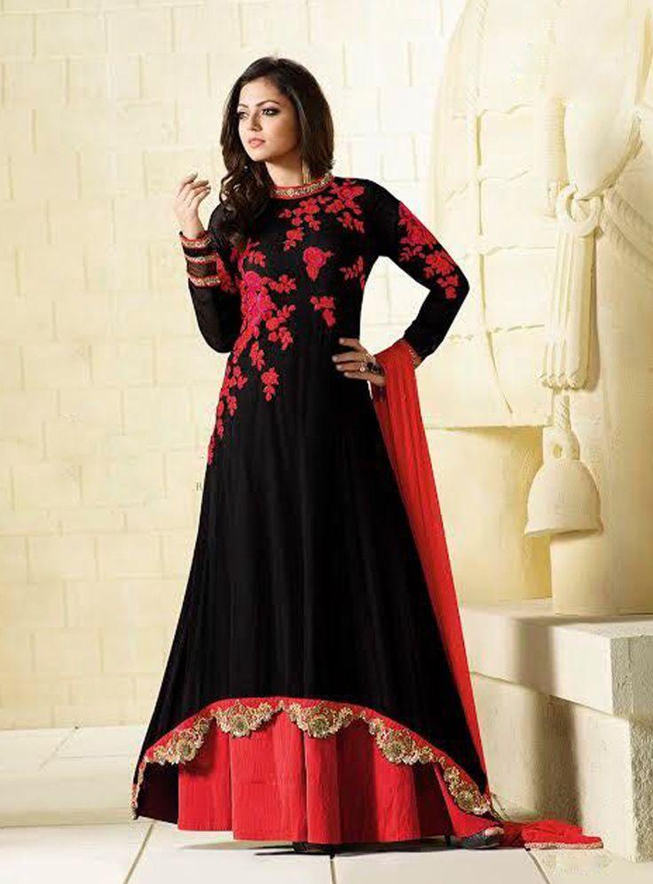 Drashti Dhami Black Georgette Bollywood Suit 82806