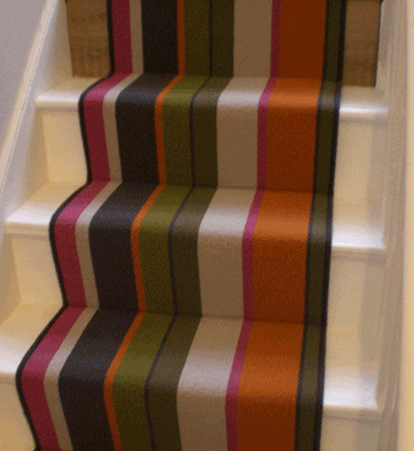 I like the idea of adding color to the stairs. Advice? Multi-Coloured-Striped-Stair-Runner-1.jpg (600×654)