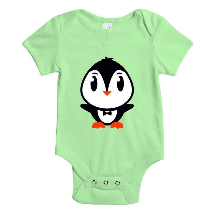Baby rompertje - mintgroen - pinguin