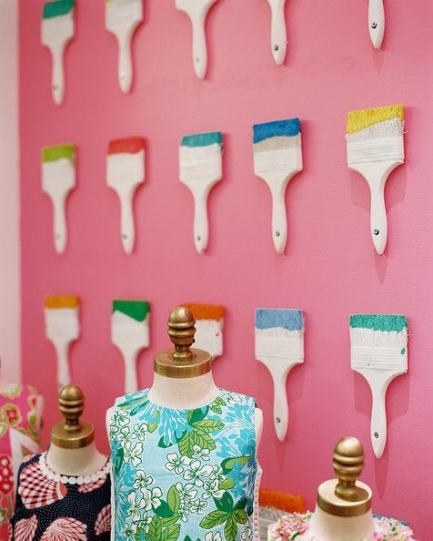 Repurposed paint brushes in Lilly Pulitzer store display. #retail #merchandising #display #props #repurpose