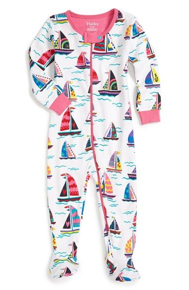 Hatley 'Patterned Sailboats' Fitted One-Piece Pajamas (Baby Girls)