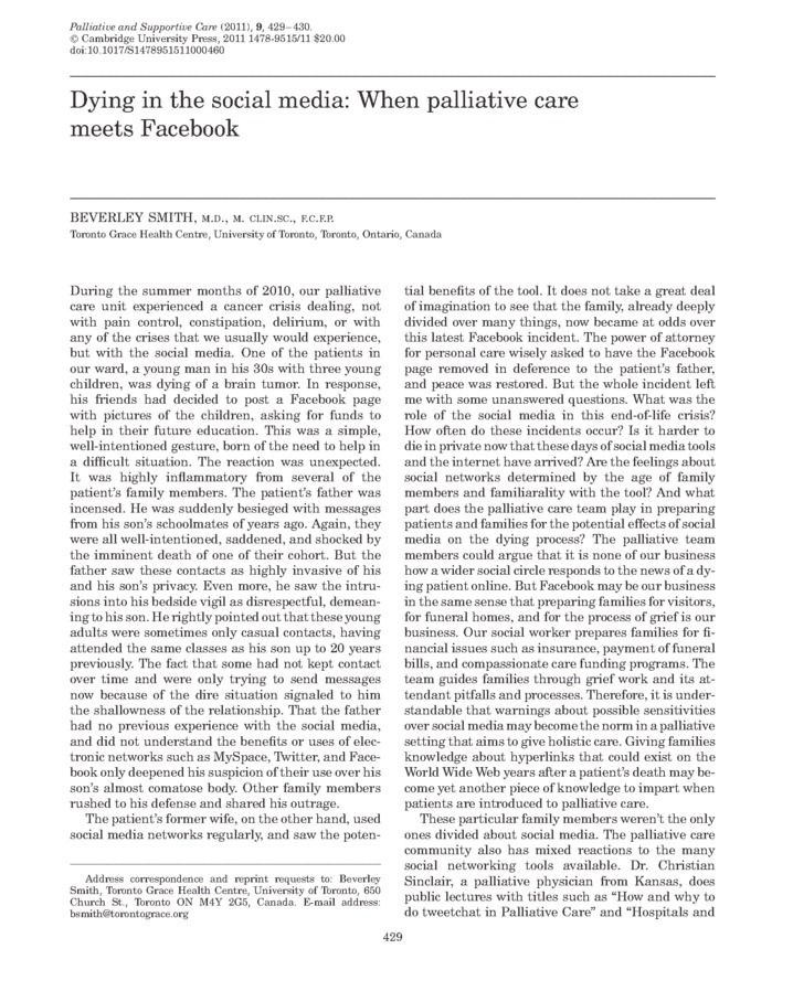 abstract of palliative care Abstract the implementation of effective geriatric palliative care (pc) services will be increasingly important as the number of patients ages ≥65 years continues to grow  for care known to their treatment teams 4 one answer to this public health concern is the growth and development of geriatric palliative care 5 in fact,.