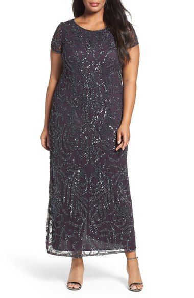 Pisarro Nights Cap Sleeve Beaded Long Dress (Plus Size) available at #Nordstrom