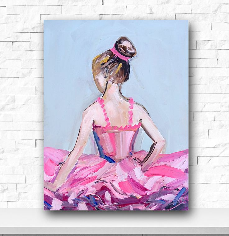 Ballerina Painting, acrylic painting, dancer illustration, wall decor, devinepaintings by DevinePaintings on Etsy
