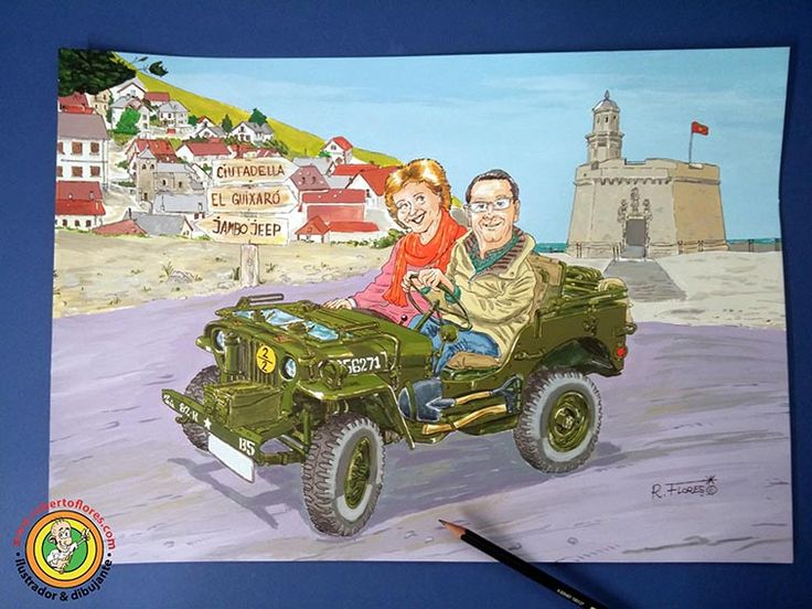 Commissioned order #cartoon for the Jambo Jeep meeting 2016. A #WillysJeep MBand his owner. Background, the village of #Orbaitzeta, #Navarre, #BasqueCountry and the fortress of #Ciutadella, #Menorca, #BalearicIslands.