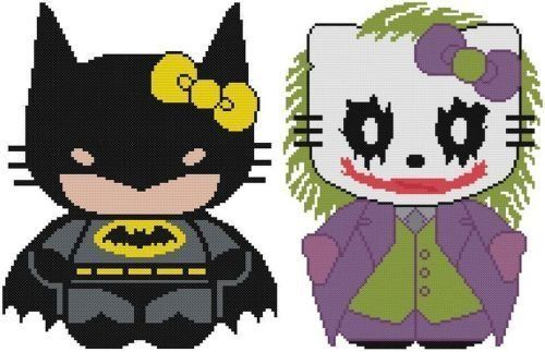 Cross Stitch Knit Crochet Plastic Canvas Waste Canvas Rug Hooking  Bead Work Pattern . This a Lot of 2 Hello Kitty Batman Patterns.  The first is Batman! The next pattern is Hello Kitty as the joker as he is as Heath Ledger. https://www.pinterest.com/resparkled/