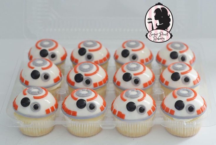 BB8 cupcakes. Starwars see more at www.facebook.com/sugarpearlbakery or www.sugarpearlbakery.com
