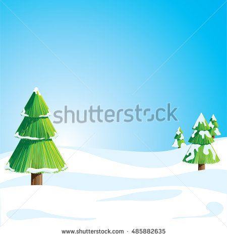 Winter landscape with Christmas tree in snow