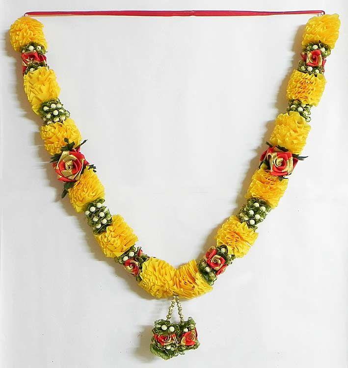 Yellow and Red Ribbon Flower Garland (Satin Ribbon))