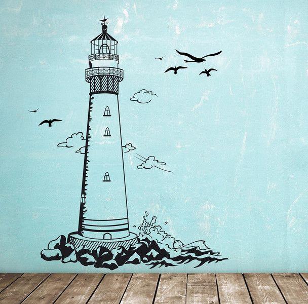 Nice Wandtattoo Wandaufkleber Leuchtturm maritim M