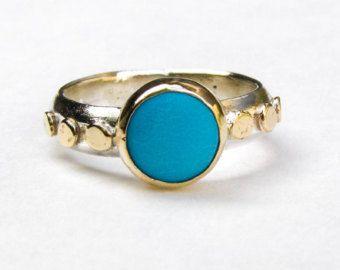 Único anillo de compromiso, anillo de turquesa, oro y anillo de compromiso de plata, anillo boda, anillo de piedras preciosas azules, regalo de cumpleaños, anillo de aniversario