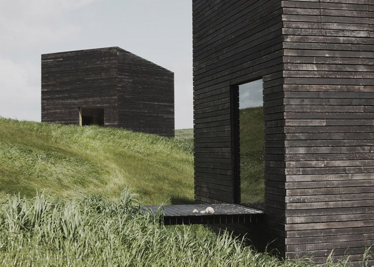 Pair of charred timber holiday cabins sit on a hill that slopes down to the Tasman Sea