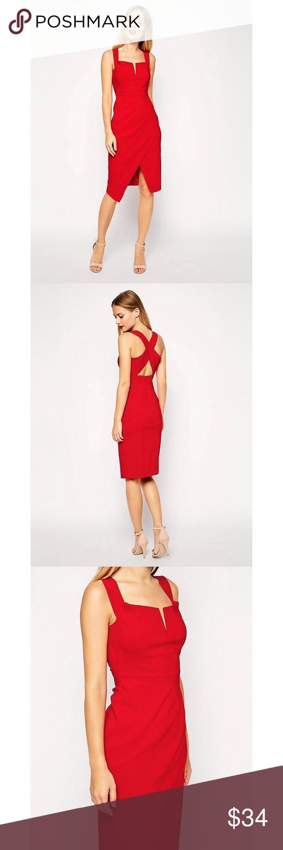 ASOS Red Criss-Crossed Back Wrap Dress Every woman has to have the perfect red dress! This one has a beautiful slit in the chest that is not too revealing, an accentuation of the waist, criss-crossed straps on the back. The bottom features a wrap style....super flattering! ASOS Dresses Midi