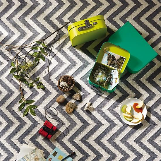 Playroom rug option: Grey Chevron Patterned Rug in Patterned Rugs | The Land of Nod