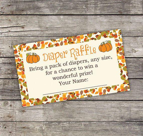 Pumpkin Diaper Raffle Card Fall Diaper Raffle by PartyPrintery