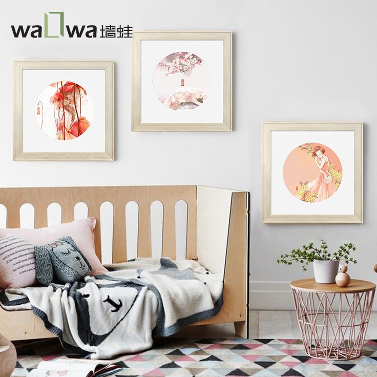 The wall frog Huayin drunk new Chinese study decorative painting murals of the original small fresh real princess Lia watercolor