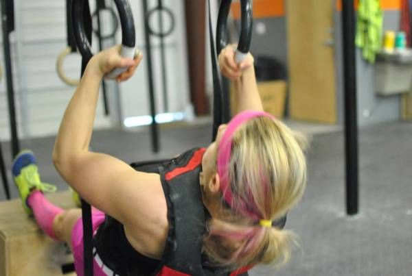 pull, push, pull up, push up, bands, accommodating resistance, strength curve. Ring rows are the best progression method!