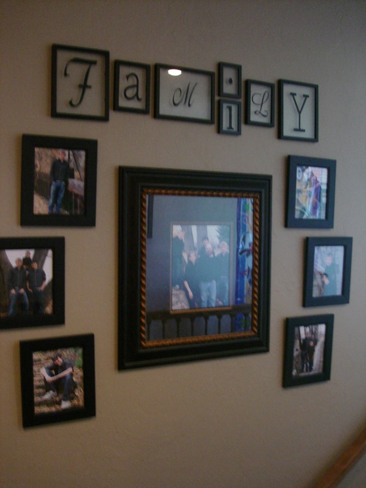 74 best images about family photo wall arrangements on for Arrangement of photo frames on wall