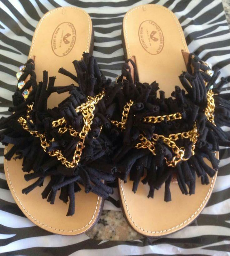 Handmade real leather sandals with chain!