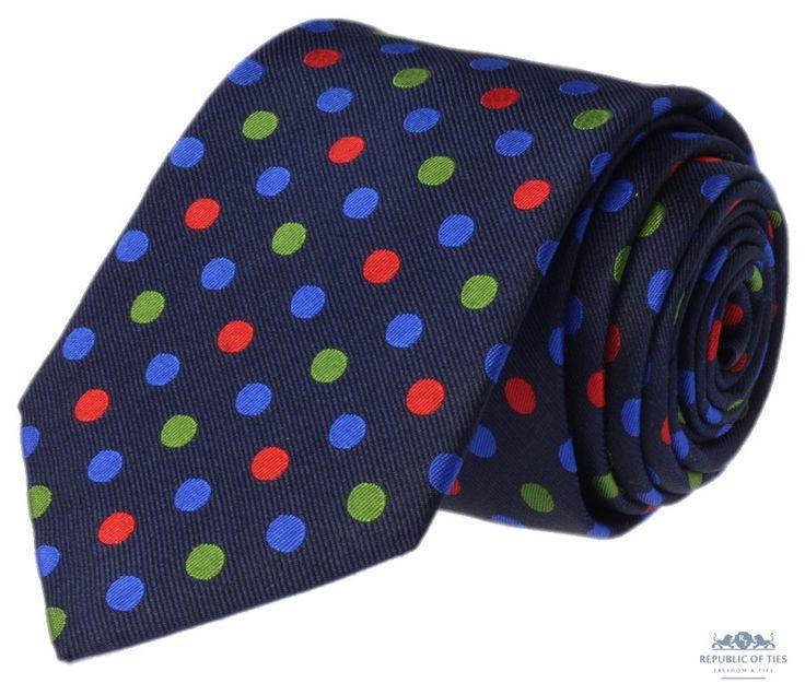 Krawat jedwabny w kolorowe grochy