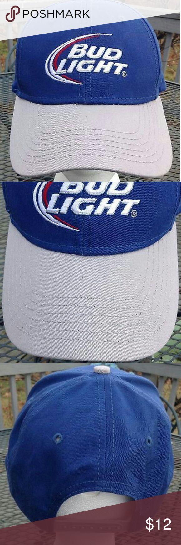 Bud Light Beer men's baseball cap. New without tags. Bud Light Beer men's Blue & Silver bill baseball hat / cap with snap back. New without tags in Mint wearable condition. One size fits all. Bud Light Beer Accessories Hats
