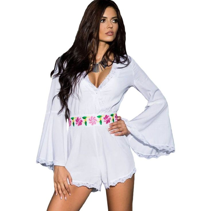 Find More Rompers Information about Pink white playsuit 2016 new bell sleeve scalloped lace trim belted short jumpsuit romper set v neck sexy playsuits for women,High Quality trim passat,China trim iphone Suppliers, Cheap playsuit romper from Attractive Women 1 on Aliexpress.com